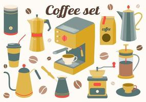 Coffee set of kitchen accessories for making a drink. Maker, French press, pot, coffee machine, grinder, grains. Vector illustration
