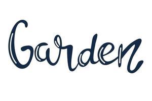 jardín, vector hand lettering en azul con reflejos blancos sobre un fondo blanco
