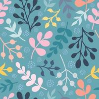 Colorful plants, twigs. Vector seamless pattern in a flat style