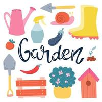A set of elements, garden items with hand lettering on a white background. Spring, vegetable garden.