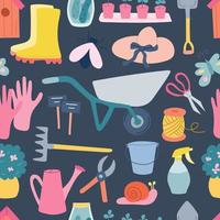 Garden tools, vector seamless pattern on a blue background in a flat style