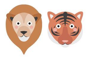 lindo rostro de tigre y león sobre fondo blanco. ilustración vectorial en estilo plano de dibujos animados, impresión infantil vector