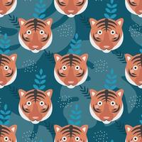 The face of a cute tiger on a dark green background, with plants, branches. Vector seamless pattern in flat cartoon style