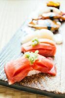Raw and fresh nigiri sushi roll photo
