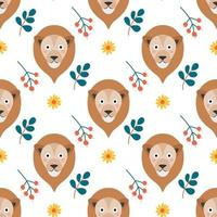 The face of a cute lion with flowers and plants on a white background. Vector seamless pattern in a flat style