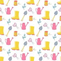 Garden tools, vector seamless pattern on white background in flat style