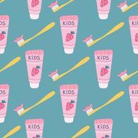 pasta de dientes para niños con fresas y un cepillo de dientes sobre un fondo verde. vector de patrones sin fisuras en estilo plano