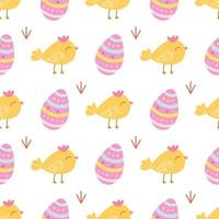 A small cute chicken with an Easter egg on a white background. Vector seamless pattern in a flat style