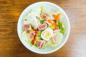 Tuna meat and egg with vegetable salad photo