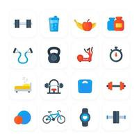 Fitness, gym and training icons vector