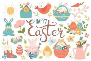 A large set of Easter design elements. Cake, eggs, flowers, rabbit, chicken, baskets. Spring festival. vector