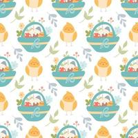 Cute chicken and a basket with Easter eggs and cakes, plants and flowers. vector