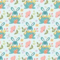 Cute Easter bunny with egg and plants, flowers. Vector seamless pattern in a flat cartoon style on a light background