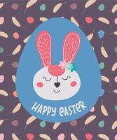 Felices Pascuas. tarjeta de felicitación con conejito de pascua y huevos. el conejo de Pascua. ilustración vectorial. diseño de pascua, impresión, postales, pegatinas, invitaciones vector