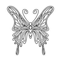Butterfly coloring book. Linear illustration of a butterfly. The mandala insect. Vector illustration