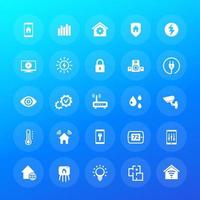 Smart home, house automation system icons, vector set