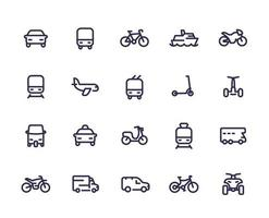 Conjunto de iconos de línea de transporte, coches, tren, avión, furgoneta, bicicleta, moto, autobús, taxi, tuk tuk, quad, metro, transporte público vector