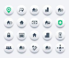 Real estate icons set, apartments, houses for rent and sale, booking vector