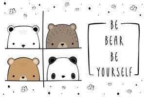 Cute polar bear teddy bear and panda greeting cartoon doodle background vector