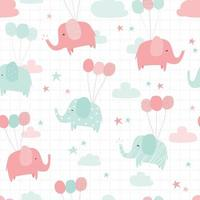 Cute green and pink pastel elephant cartoon seamless pattern vector