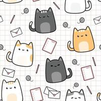 Cute chubby cat with office stuff cartoon doodle seamless pattern vector