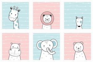 Cute 6 animals giraffe lion dog hippo elephant bear pastel cartoon doodle card set collection vector