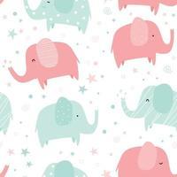 lindo, verde y rosa, pastel, elefante, caricatura, seamless, patrón vector