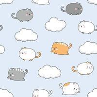 Cute chubby cat kitten flying in the sky cartoon doodle seamless pattern vector