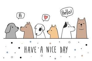 lindo, perro, cachorro, amigo, saludo, caricatura, garabato, tarjeta vector