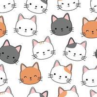 Cute cat kitten head cartoon doodle seamless pattern vector