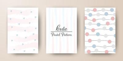 Cute pastel watercolor pattern card template vector