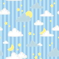 lindo, nube, estrella, y, luna, en, azul, rayado, fondo, caricatura, garabato, seamless, patrón vector