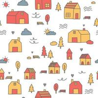 Cute small house town cartoon doodle seamless pattern vector