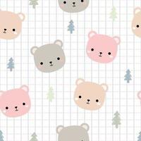 Cute teddy bear head cartoon seamless pattern vector