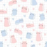 Cute pink and light blue cat kitten cartoon seamless pattern vector