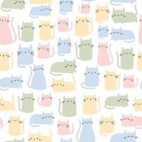 Cute pastel cat kitten cartoon seamless pattern vector