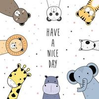 lindos animales oso tigre panda hipopótamo perros jirafa elefante y león saludo dibujos animados garabatos vector