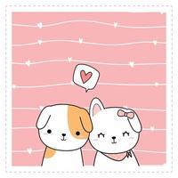 lindo perro cachorro amante sobre fondo rosa tarjeta de doodle de dibujos animados vector