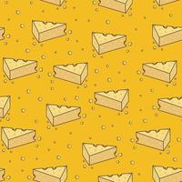 Yellow cheese cartoon doodle seamless pattern vector