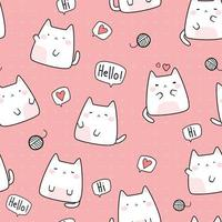 Cute chubby cat kitten greeting cartoon doodle seamless pattern vector