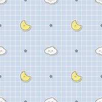 Cute cloud and moon on grid background cartoon doodle seamless pattern vector