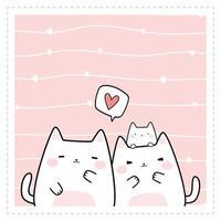 Cute chubby cat kitten family greeting cartoon doodle vector
