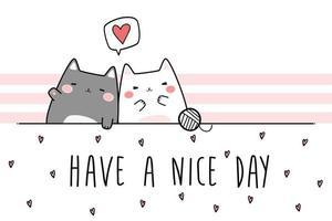 Cute chubby cat kitten couple greeting cartoon doodle vector