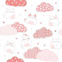 Cute chubby cat kitten with cloud cartoon doodle seamless pattern vector
