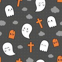 Cute little ghost halloween theme cartoon doodle seamless pattern vector