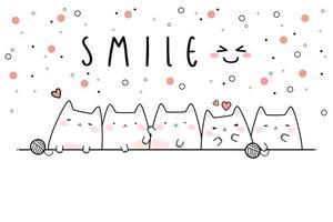 Cute chubby cat kitten family greeting cartoon doodle card vector