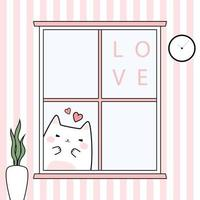 Cute chubby cat kitten greeting behind window cartoon doodle card vector