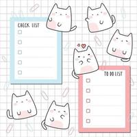 Cute chubby cat kitten with check list and to do list planner cartoon doodle vector