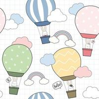 Cute rabbit bunny riding hot air balloon in the sky cartoon doodle seamless pattern vector