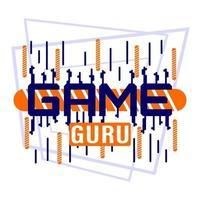 camiseta con estampado de letras game guru vector
